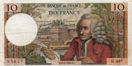 FRANCIA 10 FRANCS 1969.Q.   P-147 - 10 F 1963-1973 ''Voltaire''