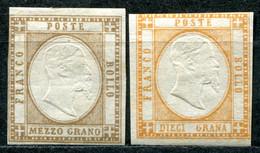 Z2101 ASI PROVINCE NAPOLETANE 1861 VEIII 2 Valori MH, Sassone 18, 22, SECONDA SCELTA, Valore Catalogo € 575 - Naples