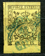Z2106 ASI MODENA 1852 Aquila Estense, C. 15, Usato, Sassone 3, SECONDA SCELTA, Valore Catalogo € 50 - Modena