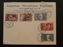 Lettre Affr. Victor Hugo Rodin Callot Exposition Philatélique St-Etienne 42 Loire 1938 - 1921-1960: Periodo Moderno