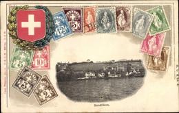 Gaufré Timbres Kilchberg Kt. Zürich Schweiz, Bendlikon, Häuser Am Ufer, Blason - ZH Zürich
