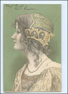 XX10755/ Jugendstil  Frau Mit Kopfschmuck Litho AK Ca.1900 - Sin Clasificación