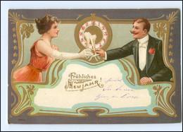 V079/ Jugendstil Neujahr  Schöne Litho Prägedruck Golddruck AK 1904 - Anno Nuovo