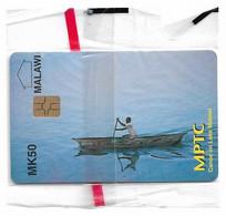 Malawi - MPTC - Canoe On Lake Malawi, 50Mk, Chip Gem5 Red, NSB - Malawi
