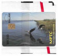 Malawi - MPTC - Fish Eagles, Lake Malombe (Old Logo), 100Mk, Chip Gem5 Red, NSB - Malawi