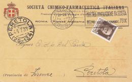 ROMA - PIAZZA MADAMA - CARTOLINA COMMERCIALE DELLA SOCIETA' CHIMICO FARMACEUTICA ITALIANA - STEMMA IN RILIEVO - 1933 - Health & Hospitals