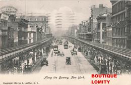 USA New York City Along The Bowery Train Metro Tram Tramway Cpa Carte Taxée + Timbre Taxe Cachet 1906 - Manhattan