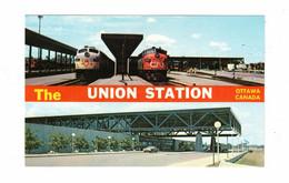 OTTAWA, Ontario, Canada, The Union Station / Depot, Old Chrome Postcard - Bahnhöfe Mit Zügen