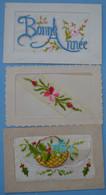 : Cartes Postales Brodées - Lot De 3 Cartes Postales (voir Scan) - Embroidered