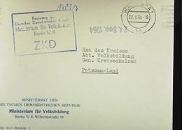 """Fern-Brf Mit ZKD-Kastenstpl """"Regierung Der DDR Ministerium F Volksbildung Berlin W 8"""" 22.9.64 An Rat Des Kreises Potsdam - Service"""
