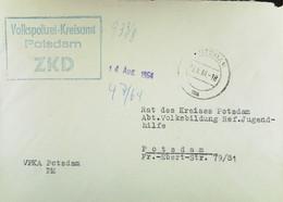"""Orts-Brief Mit ZKD-Kastenstempel In Blau """"Volkspolizei-Kreisamt Potsdam"""" Abt. PM Vom 13.8.64 An Rat Des Kreises Jugendhf - Service"""