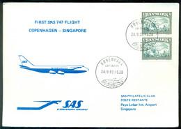 Denmark 1982 First SAS 747 Flight Copenhagen - Singapore - Unused Stamps