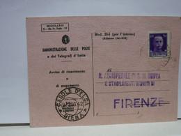 SIENA  E PROV. -- ANNULLO -TONDO -RIQUADRATO -FRAZIONALE --- CASOLE D'ELSA --9-7-42 - Storia Postale