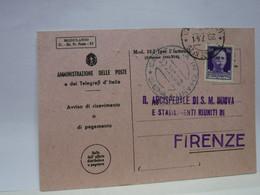 SIENA  E PROV. -- ANNULLO -TONDO -RIQUADRATO -FRAZIONALE --- CASTELLINA IN CHIANTI --- 30-7-41 - Storia Postale
