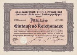 AKTIE Wollgarnfabrik Tittel & Krüger Und Sternwoll-Spinnerei Aktiengesellschaft RM 1000 Bremen, Im Februar 1934 - W - Z