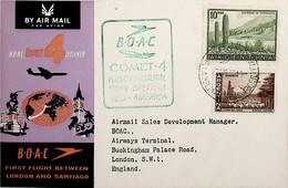 1960 Argentina 1st BOAC Flight London - Santiago (Link Between Buenos Aires And London - Return) - Posta Aerea