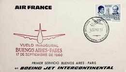1960 Argentina 1st Air France Flight Buenos Aires - Paris - Posta Aerea