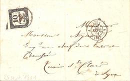 A LYON A Les Terreaux ( Rhône)  Type 15 Oblitérant Sur Timbre Taxe N°2 (cote 35€) - 1849-1876: Periodo Classico