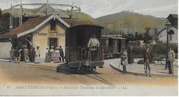 SAINT ETIENNE  ( Vosges ) :Station De Tramways De Gérardmer Bien Animée *** Octobre 1918 - Gerardmer