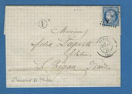LETTRE GANGES N° 60 GC 1620 BOITE RURALES ST LAURENT LE MINIER - 1849-1876: Periodo Clásico
