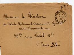 E 19   1930 Lettre FM Sp 250  Pliure - Sellos Militares Desde 1900 (fuera De La Guerra)