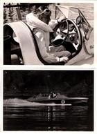 2 Cartes Photos Originales Motonautisme Racer Team Anglais Et Son Pilote, Speed Boat Anglais 1950 E. Steinemann Locarno - Auto's