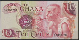 Geldschein Banknote Ghana 10 Cedis 1978 P-16f Bankfrisch UNC - Unclassified