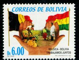 AS7001 Bolivia 2001 And Belgium Friendly Flag 1V - Francobolli