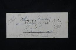 FRANCE - Lettre De Paris Pour Bar / Aube Et Redirigé Vers Pommard En 1851, Taxe 25 Double Traits Répété - L 77187 - 1849-1876: Periodo Clásico