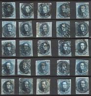 BELGIE 25 X Ongetande Medaillons 20 Cent Na Te Zien - 1849-1865 Medallions (Other)