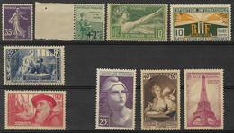 France Lot De 9  Timbres Neufs ** 142, 163, 183, 210, 307, 384, 429, 446 Et 731 - Nuevos