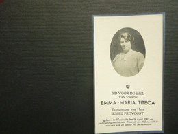 Doodsprentje ( 3859 )  Titeca / Prevoost  -  Westkerke  Oostende    1938 - Avvisi Di Necrologio