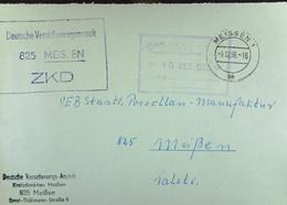 """Orts-Brief Mit ZKD-Kastenstpl. """"Deutsche Versicherungsanstalt 825 Meissen"""" 9.12.66 An Staatl. Porzellanmanufaktur Meißen - Service"""