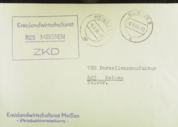 """Orts-Brief Mit ZKD-Kastenstpl. """"Kreislandwirtschaftsrat 825 Meissen"""" Vom 8.9.66 An Staatl. Porzellanmanufaktur Meißen - Service"""