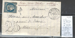 France - Lettre TAXEE POUR TIMBRE ALTERE - Ceres Yvert 4 - Montpellier - 1854 - 1849-1876: Période Classique