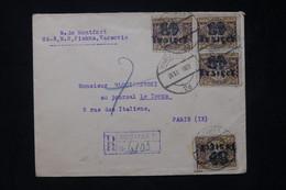 POLOGNE - Enveloppe En Recommandé De Warszawa En 1923 Pour Paris, Affranchissement Surchargés - L 77221 - Briefe U. Dokumente