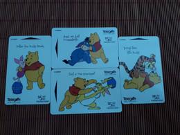 Disney Winnie The Pooh  Set 4 Phonecards (Mint,New)  (mint,New)  Rare - Disney