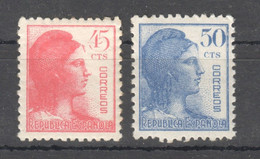 SP189 1938 REPUBLIC SPAIN MICHEL #703,704 2ST MLH - 1931-50 Unused Stamps