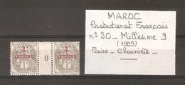 MAROC . PROTECTORAT FRANCAIS . N° 20 NEUF CHARNIERE MILLESIME 9 ( 1909 ) . - Unused Stamps
