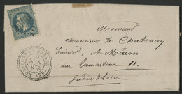 """1870 SAONE ET LOIRE COTE 70 € C.à.d Perlé """"MONPONT EN BRESSE"""" + GC """"2506"""". Voir Description - 1849-1876: Periodo Classico"""