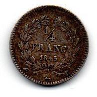 1/4 Franc 1845 B /  TTB - F. 25 Centimes