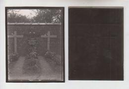 LEUZE LONGCHAMPS  Ancienne Photo + Plaque Verre   Mort Pour La France - Glasdias