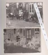 LEUZE LONGCHAMPS  Ancienne Photo + Plaque Verre  Devanture Café - Glasdias