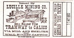"USA United States Nevada "" Tramway Calico Ghost Town "" Near Barstow Fahrkarte Boleto Biglietto Ticket Billet - World"