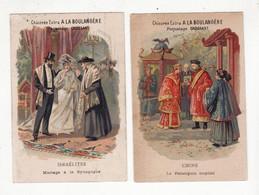 Chromo  CHICOREE BOULANGERE    Lot De 2    Israélites, Synagogue, Chine, Palanquin     10.5 X 7.1 Cm - Andere