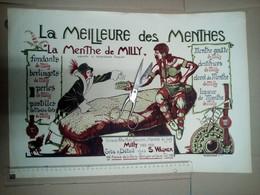 RARE VRAIE LITHOGRAPHIE AFFICHE MENTHE DE MILLY La Forêt MAISON WAGNER Expo Herboriste Gaulois Bouclier - Posters