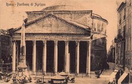 "10520 ""ROMA-PANTHEON DI AGRIPPA"" VERA FOTO-CARTOLINA SPEDITA 1913 - Pantheon"