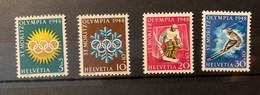 11103 -  Suisse Série Jeux De St-Moritz 1948 ** Neuf MNH Nos 25w-28w Papier Mêlé Bleu Et Rouge - Inverno1948: St-Moritz