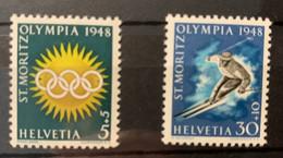 11104 -  Suisse  Jeux De St-Moritz 1948 ** Neuf MNH Nos 25x & 28x Papier Mêlé Bleu, Rouge & Jaune - Inverno1948: St-Moritz