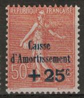 """SEMEUSE N° 250 NEUF ** MNH Avec VARIÉTÉ """" SANS LE POINT SUR LE I DE CAISSE ( D'AMORTISSEMENT ) """" 50c + 25c - 1903-60 Säerin, Untergrund Schraffiert"""